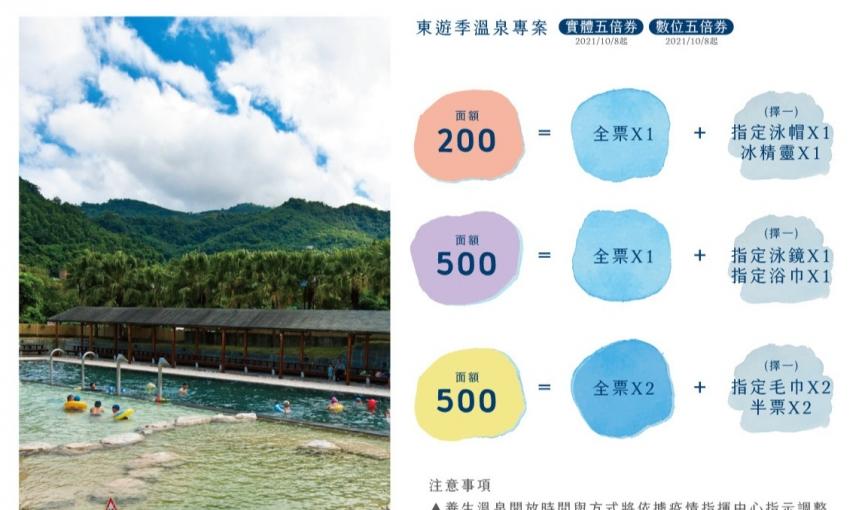 2021 東遊季五倍券、數位五倍券溫泉優惠專案
